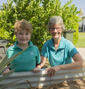 Litter Ambassador Trish Garrad and Year 4 student Hamish Haase want to see the litter band around Bundaberg disappear. They are supporting the Bin It — You know it's right! campaign to reduce roadside littering.